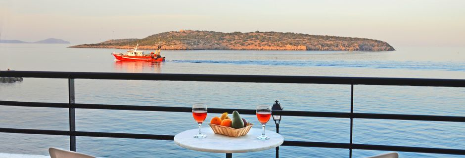 Utsikt från hotell 9 Muses i Agios Nikolaos på Kreta, Grekland.