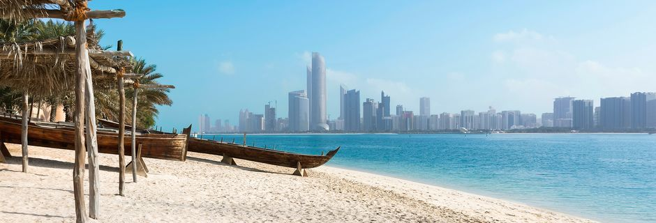 Stranden i Abu Dhabi, Förenade Arabemiraten.