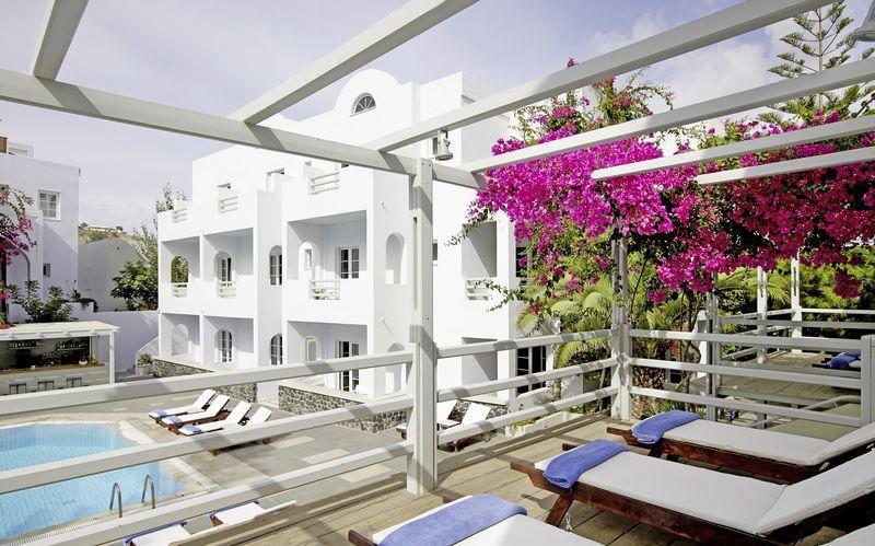 Hotell Afrodite i Kamari på Santorini, Grekland.