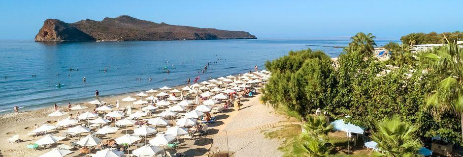 Strand i Agia Marina på Kreta, Grekland.