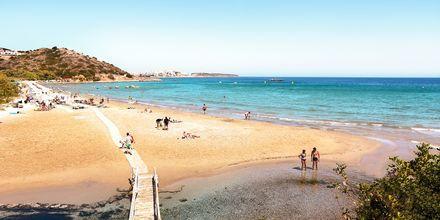 Almyros Beach vid Agios Nikolaos på Kreta.