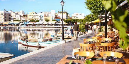 Hamnpromenaden i Agios Nikolaos på Kreta.