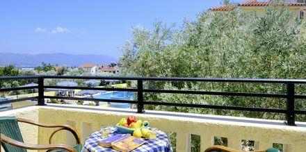 Balkongutsikt från hotell Agrilionas på Samos.
