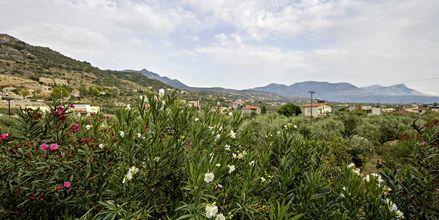 Utsikt från hotell Aiolos i Stoupa, Grekland.