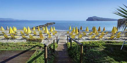Stranden vid hotell Akoition i Agia Marina, Kreta.