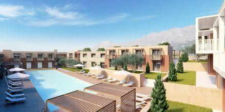 Skissbild av ett av poolområdena på hotell Alegria Beach Resort i Plakias på Kreta, Grekland.