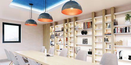 Skissbild på biblioteket på hotell Alegria Beach Resort i Plakias, på Kreta, Grekland.