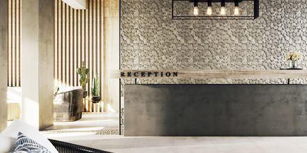 Skissbild på reception på hotell Alegria Beach Resort i Plakias, på Kreta, Grekland.
