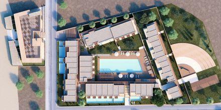 Skissbild på hotell Alegria Beach Resort i Plakias på Kreta, Grekland.