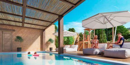 Skissbild på barnpoolen på hotell Alegria Beach Resort i Plakias på Kreta, Grekland.