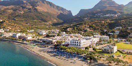 Stranden vid hotell Alianthos Beach i Plakias på Kreta, Grekland.