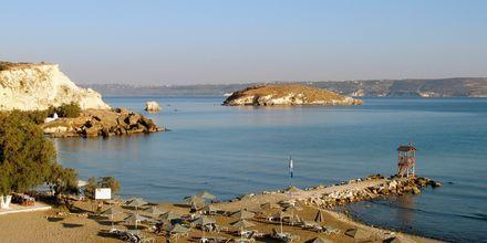 Stranden närmast hotellen i Almyrida, Kreta.
