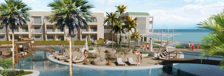 Skissbild av poolområdet på hotell Amira Beach Resort & Spa i Rethymnon på Kreta, Grekland.