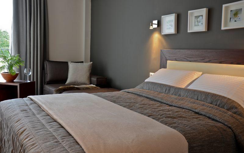 Dubbelrum på hotell Amphitryon i Rhodos stad på Rhodos, Grekland.