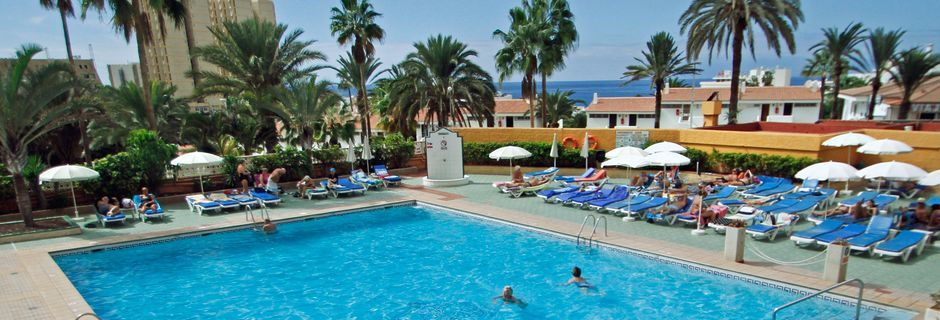 Pool på hotell Apartments Caribe i Playa de las Americas på Teneriffa.