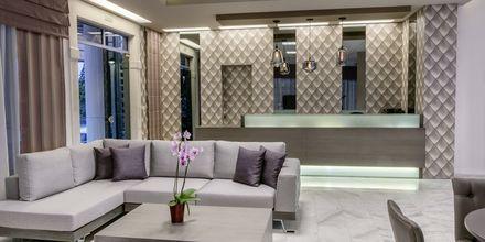 Lobbyn på hotell Ariadne på Rethymnon kust på Kreta, Grekland.