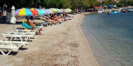 Stranden vid hotell Artemida på Leros, Grekland.