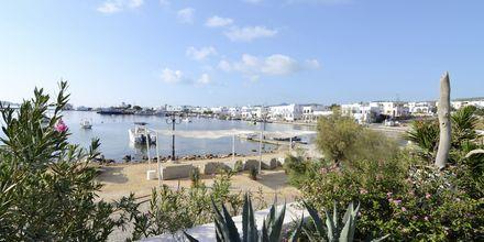 Stranden vid hotell Artemis på Antiparos i Grekland.