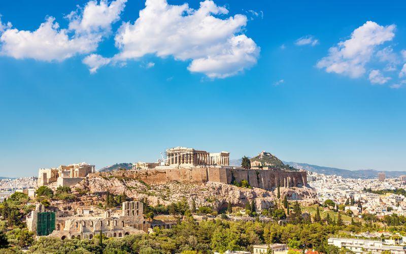 Klippan Akropolis och templet Parthenon i Aten, Grekland.