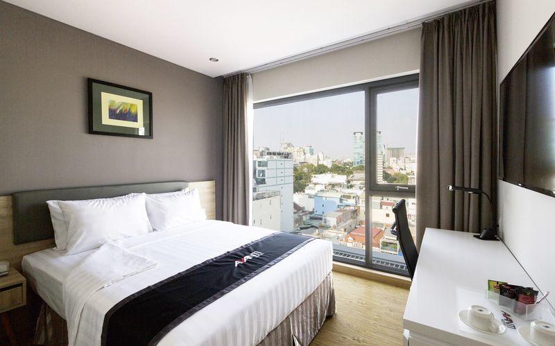 Dubbelrum på hotell Avanti i Saigon, Vietnam.