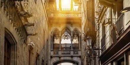Smala gränder och mäktiga byggnader i de gotiska kvarteren i Barcelona.