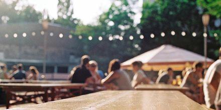 Beergarden i Berlin, Tyskland.