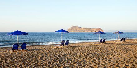 Stranden vid hotell Blue Sea Villas i Platanias, Kreta.