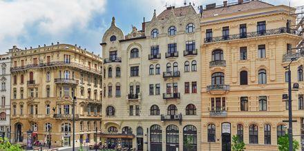 Vackra hus i Ungerns huvudstad, Budapest.