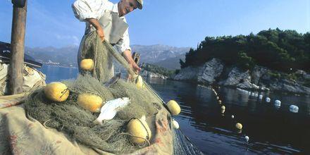 Fiskare i Montenegro i färd med att ta upp nattens fångst.