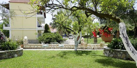 Trädgården på hotell Byzantion i Parga, Grekland.