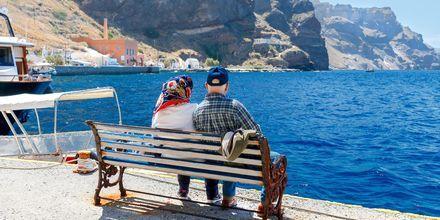 Den gamla hamnen i Fira på Santorini.