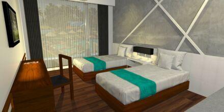 Skissbild av dubbelrum på hotell Camelot Beach i Negombo, Sri Lanka.