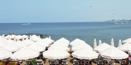 Stranden vid hotell Can Garden Beach i Side, Turkiet.