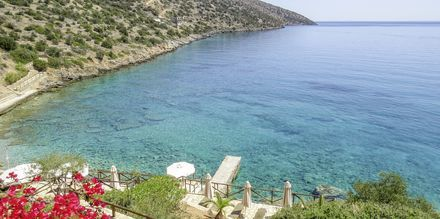 Stranden vid hotell Candia Park Village i Agios Nikolaos på Kreta.