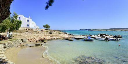 Stranden vid hotell Captain Nicolas i Naoussa på Paros, Grekland.