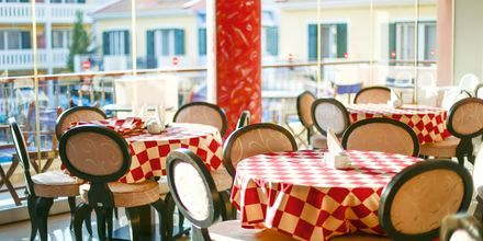 Frukostmatsal på hotell Captain Stavros på Lefkas, Grekland.