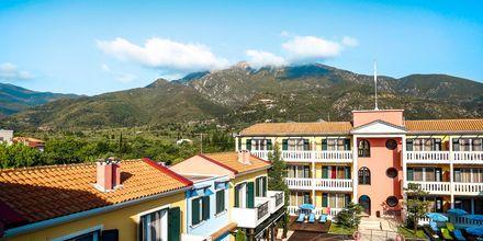 Poolområdet på Captain Stavros på Lefkas, Grekland.