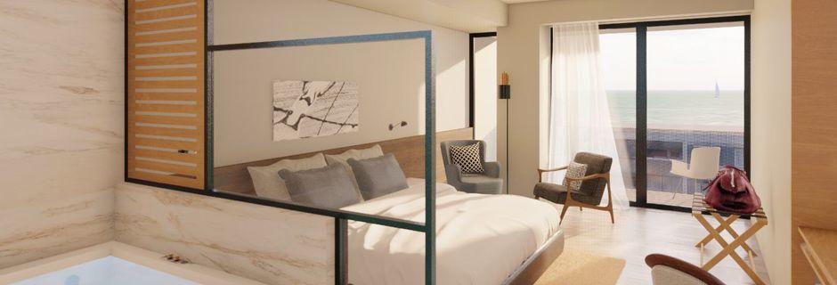 Skissbild på juniorsvit på hotell Chania Flair i Chania stad på Kreta, Grekland.