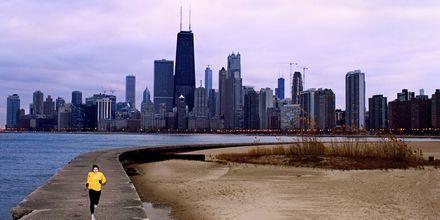 Ta en löptur längs Lake Michigan