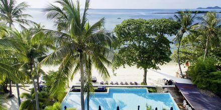 Poolen och stranden på Chura Samui Resort på Koh Samui, Thailand.
