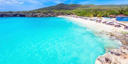 Stränderna i Curaçao är enastående - vita sand och turkosblått vatten. Här är stranden Grote Knip.