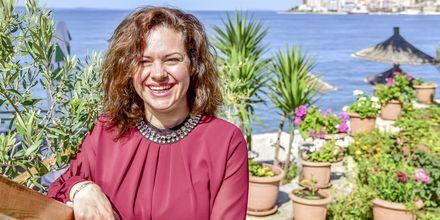Joanna, hotellmanager på Delfini i Saranda, Albanien.