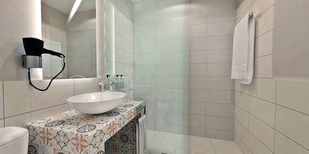 Skissbild på badrum på hotell Diamanta på Skiathos, Grekland.