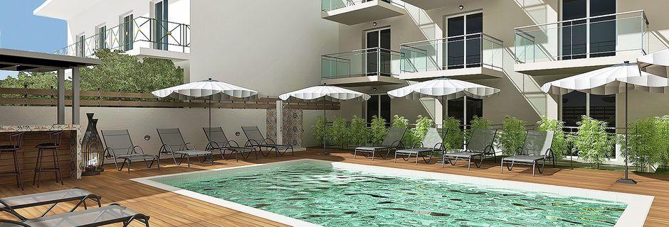 Skissbild på poolområde på hotell Diamanta på Skiathos, Grekland.