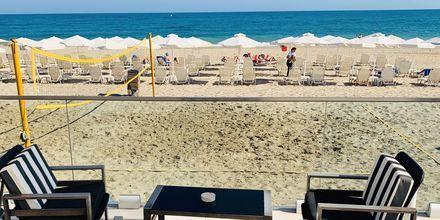 Stranden vid hotell Dimitrios Village Beach Resort i Rethymnon på Kreta, Grekland.