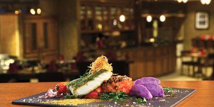 Restaurang Brasserie på hotell Doubletree by Hilton Marjan Island i Ras al Khaimah.