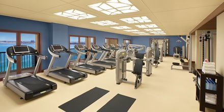 Gym på hotell Doubletree by Hilton Marjan Island i Ras al Khaimah.