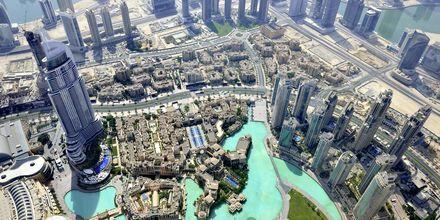 Utsikt över Dubai från Burj Khalifa, Förenade Arabemiraten.