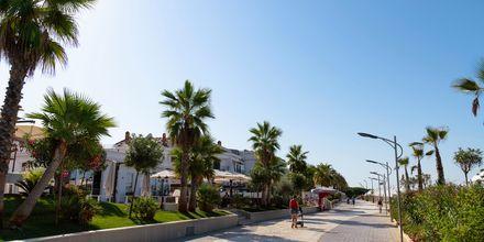 Strandpromenaden längs Durres riviera i Albanien.