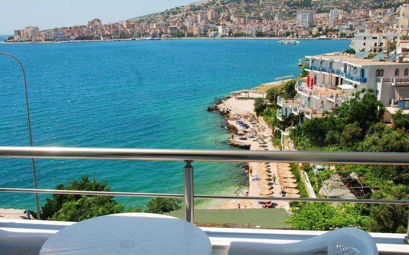 Utsikt från hotell i Edola i Saranda, Albanien.